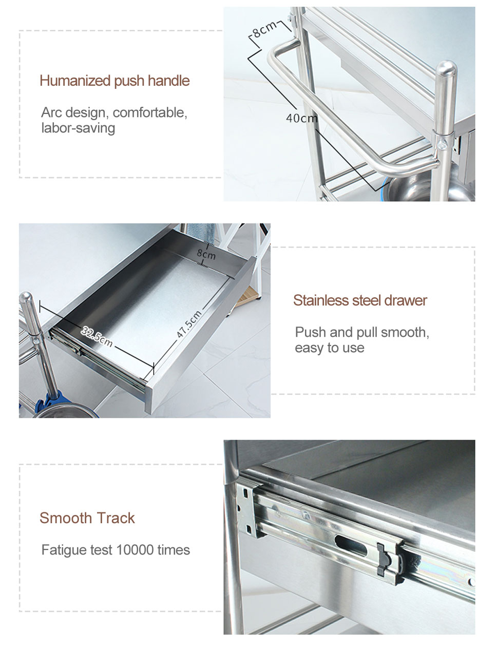 YA-009 Stainless Steel Medical Trolley For Clinics