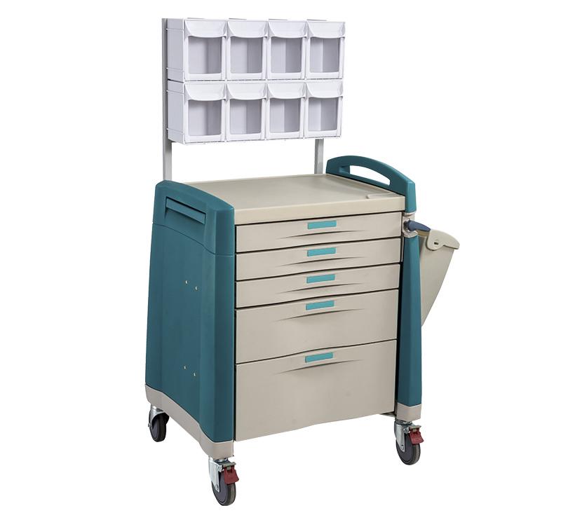 Carro de anestesia para medicamentos con cajón con papelera MK-P07