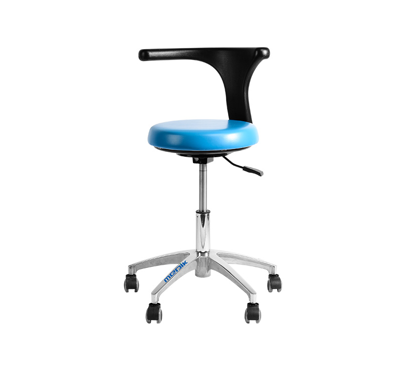 Taburete con respaldo para clínicas azul cielo YA-S07